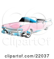 Clipart Illustration Of A Pink Convertible 1959 Cadillac Car With Chrome Accents And The Top Down by Andy Nortnik