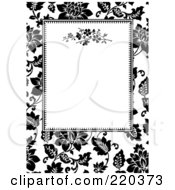 Royalty Free RF Clipart Illustration Of A Formal Black And White Floral Invitation Border With Copyspace 40