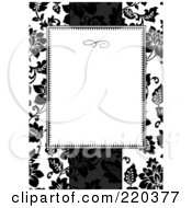 Royalty Free RF Clipart Illustration Of A Formal Black And White Floral Invitation Border With Copyspace 33