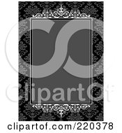 Royalty Free RF Clipart Illustration Of A Formal Invitation Design Of An Ornate Gray Box Over Gray And Black Floral Pattern