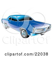 Clipart Illustration Of A Blue 1966 Pontiac GTO Muscle Car With Crhome Detailing On The Front End And Around The Windows