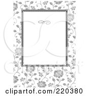 Royalty Free RF Clipart Illustration Of A Formal Black And White Floral Invitation Border With Copyspace 43