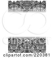 Royalty Free RF Clipart Illustration Of A Formal Black And White Floral Invitation Border With Copyspace 29
