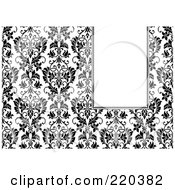 Royalty Free RF Clipart Illustration Of A Formal Black And White Floral Invitation Border With Copyspace 48