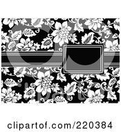 Royalty Free RF Clipart Illustration Of A Formal Black And White Floral Invitation Border With Copyspace 37