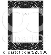 Royalty Free RF Clipart Illustration Of A Formal Invitation Design Of A White Box Over A Black And White Swirl Pattern