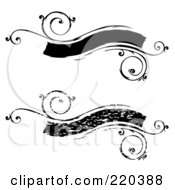 Royalty Free RF Clipart Illustration Of A Digital Collage Of Black Floral Distressed Banners