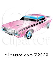 Clipart Illustration Of A 1971 Dodge Challenger Muscle Car In Pink With Black Racing Stripes On The Sides