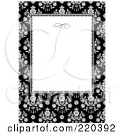 Royalty Free RF Clipart Illustration Of A Formal Black And White Floral Invitation Border With Copyspace 39