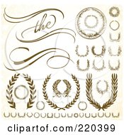 Royalty Free RF Clipart Illustration Of A Digital Collage Of Ornate Wreaths Laurels And Waves by BestVector