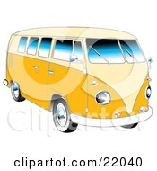 Clipart Illustration Of A Yellow 1962 VW Bus With Chrome Detail And A Pale Yellow Roof And Accents