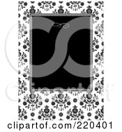 Royalty Free RF Clipart Illustration Of A Formal Black And White Floral Invitation Border With Copyspace 47