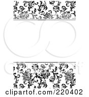 Royalty Free RF Clipart Illustration Of A Formal Black And White Floral Invitation Border With Copyspace 27 by BestVector