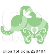 Royalty Free RF Clipart Illustration Of A Green Elephant With White Designs by Cherie Reve