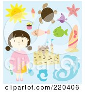 Royalty Free RF Clipart Illustration Of A Digital Collage Of A Summer Girl With A Sand Castle And Beach Items by Cherie Reve