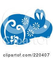 Royalty Free RF Clipart Illustration Of A Blue Rabbit With White Floral Designs by Cherie Reve