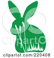 Royalty Free RF Clipart Illustration Of A Green Rabbit With White Reed Designs by Cherie Reve