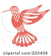 Royalty Free RF Clipart Illustration Of A Pink Hummingbird With White Designs by Cherie Reve