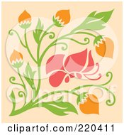 Abstract Pink Butterfly With Orange Flowers On Pastel Orange