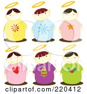 Royalty Free RF Clipart Illustration Of A Digital Collage Of Six Holiday Angel Kids With Halos by Cherie Reve