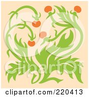 Royalty Free RF Clipart Illustration Of Orange Flowers On A Green Plant On Pastel Orange by Cherie Reve