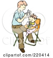Royalty Free RF Clipart Illustration Of A Father Giving His Baby Her First Hair Cut