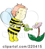 Royalty Free RF Clipart Illustration Of A Happy Bee Boy Watering A Coneflower Plant by Cherie Reve