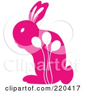 Royalty Free RF Clipart Illustration Of A Pink Rabbit With White Balloon Designs