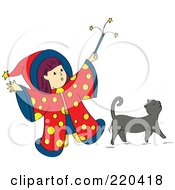 Royalty Free RF Clipart Illustration Of A Little Wizard Girl Holding Up Her Magic Wand Over Her Gray Cat by Cherie Reve