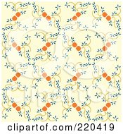 Royalty Free RF Clipart Illustration Of A Seamless Repeat Background Of Japanese Spring Flowers On Beige by Cherie Reve