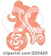 Royalty Free RF Clipart Illustration Of A Pink Elephant And Ball With White Designs by Cherie Reve
