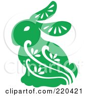 Royalty Free RF Clipart Illustration Of A Green Rabbit With White Designs by Cherie Reve