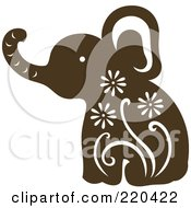Royalty Free RF Clipart Illustration Of A Brown Elephant With White Designs by Cherie Reve
