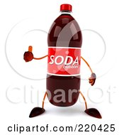 Royalty Free RF Clipart Illustration Of A 3d Soda Bottle Facing Front With A Thumb Up