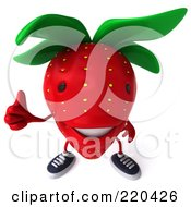 Royalty Free RF Clipart Illustration Of A 3d Strawberry Facing Front And Holding A Thumb Up by Julos