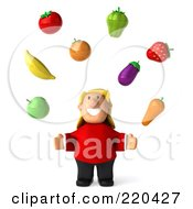 Royalty Free RF Clipart Illustration Of A 3d Overweight Casual Woman Facing Forward And Looking Up At Floating Produce