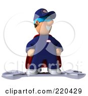 Royalty Free RF Clipart Illustration Of A 3d Super Hero Mechanic Standing On A Giant Wrench