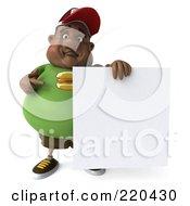 3d Chubby Black Burger Man Holding A Blank Sign - 3