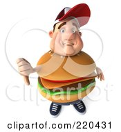 Royalty Free RF Clipart Illustration Of A 3d Burger Body Man Facing Front And Holding A Thumb Down 2 by Julos