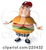 3d Burger Body Man Facing Front And Shrugging