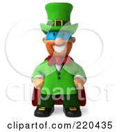 Royalty Free RF Clipart Illustration Of A 3d Super Hero Leprechaun Man Facing Front by Julos