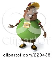 3d Chubby Black Burger Man Facing Front And Gesturing