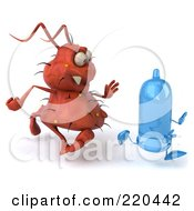 Royalty Free RF Clipart Illustration Of A 3d Rodney Germ Character Chasing A Blue Condom 2
