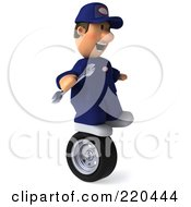 Royalty Free RF Clipart Illustration Of A 3d Mechanic Facing Right Holding A Wrench And Balancing On A Tire by Julos