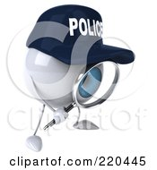 Royalty Free RF Clipart Illustration Of A 3d Blue Police Eyeball Character Using A Magnifying Glass 2