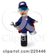 Royalty Free RF Clipart Illustration Of A 3d Super Hero Mechanic Facing Front And Balancing On A Tire by Julos