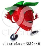 Royalty Free RF Clipart Illustration Of A 3d Strawberry Facing Right And Running by Julos