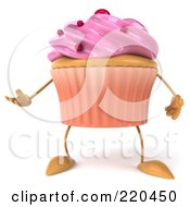 Royalty Free RF Clipart Illustration Of A 3d Strawberry Frosted Cupcake Facing Front And Gesturing