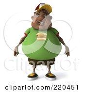 3d Chubby Black Burger Man Facing Front