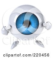 Royalty Free RF Clipart Illustration Of A 3d Blue Eyeball Character Facing Front And Pointing To Itself by Julos